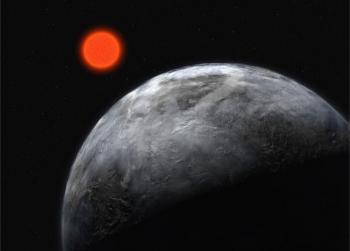 Aceasta imagine creata de un artist si oferita de ESO (Observatorul Sud-European) surprinde planeta Gliese 581 (punctul rosu), fiind situata in afara sistemului nostru solar si fiind foarte asemanatoare cu Pamantul.