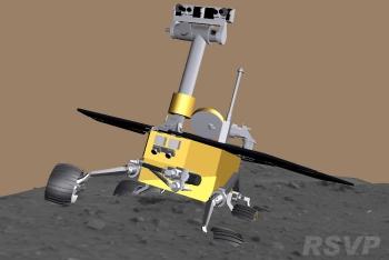 Un screenshot oferit de softul folosit de echipa Mars Exploration Rover pentru evaluarea miscarilor celor doua rovere martiene ilustreaza modul in care a ramas blocat Spirit în solul martian.