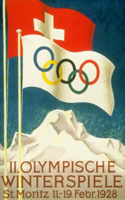Posterul oficial al Jocurilor Olimpice de Iarna din 1928, desfasurate la St.Moritz, Elvetia, expus la Muzeul Olimpic din Lausanne, Elvetia.