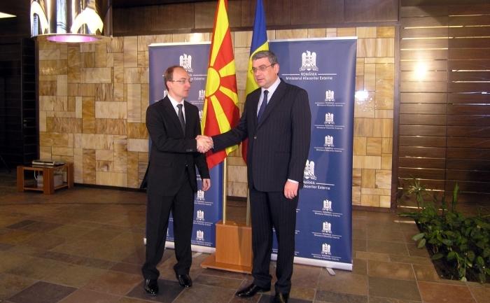 Ministrul român de externe a avut, miercuri, la Bucureşti, o întrevedere cu omologul său macedonean, Antonio Milososki.