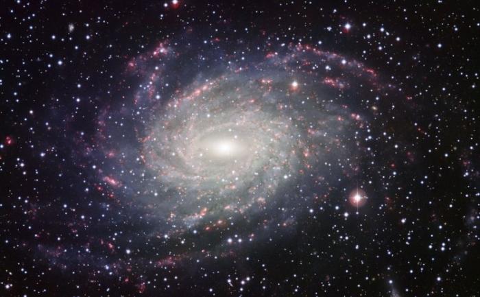 O vedere luata de Wide Field Imager a galaxiei spiralate NGC 6744, similara Caii Lectee, luata cu telescopul MPG/ESO de 2.2 metri din La Silla. Imaginea este compusa din patru expuneri succesive luate cu patru filtre diferite - albastru, galben-verziu, rosu si un filtru al radiatiei provenite de la hidrogen.