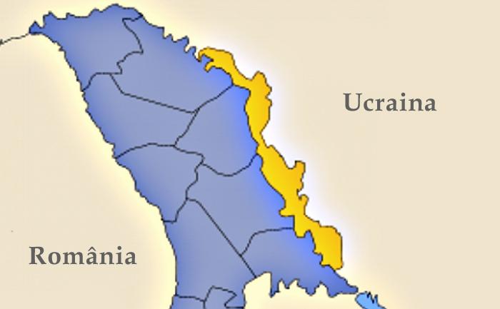 Transnistria este reprezentată de culoarea galbenă.