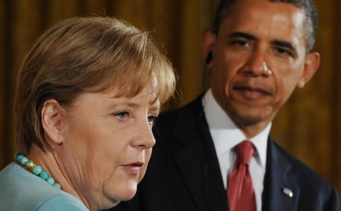 Preşedintele american Barack Obama şi cancelarul german Angela Merkel.