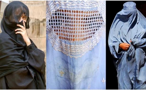 Femei musulmane care poartă niqab-ul (stanga) şi Burqa (centru si dreapta).