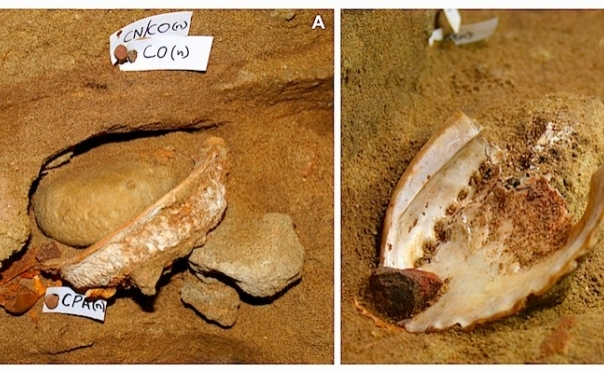 Un amestec de culoare ocru descoperit in Pestera Blombos in Cape Town, South Africa.