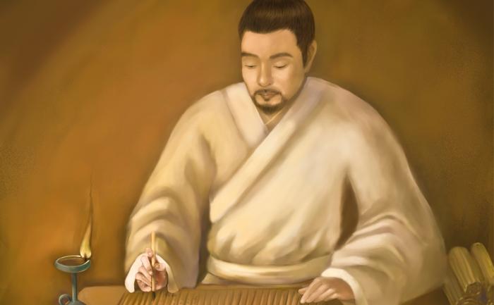 """Sunzi si cartea sa """"Arta Razboiului"""", fragment ilustraţie SM Yang."""