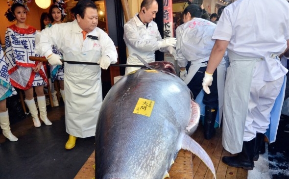 Şeful unui lanţ japonez de sushi, Sushi-Zanmai, Kiyoshi Kimura (centru), taie felii dintr-un ton de 269 kg, 5 ianuarie 2012.