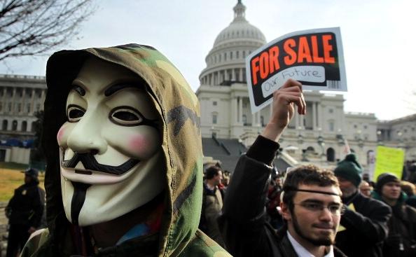 Protest organizat în cadrul mişcării Occupy, în apropiere de Casa Albă, 17 ianuarie 2012.
