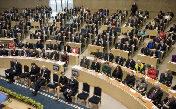 Vedere generală a Parlamentului suedez din Stockholm.
