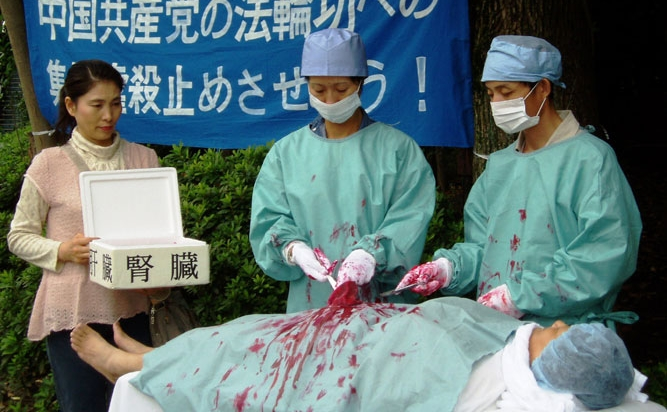 O punere în scenă a recoltării de organe de la practicanţii Falun Gong de către regimului comunist din China, la o adunare publică.