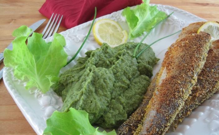 Peşte prăjit cu piure de broccoli