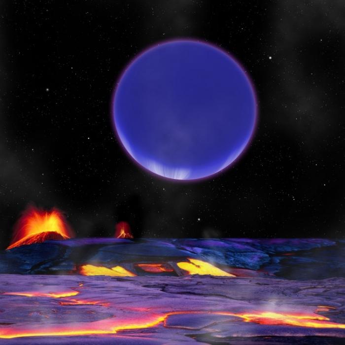 Desen înfăţişând planeta Kepler-36c aşa cum s-ar putea observa de pe planeta-soră Kepler-36b.