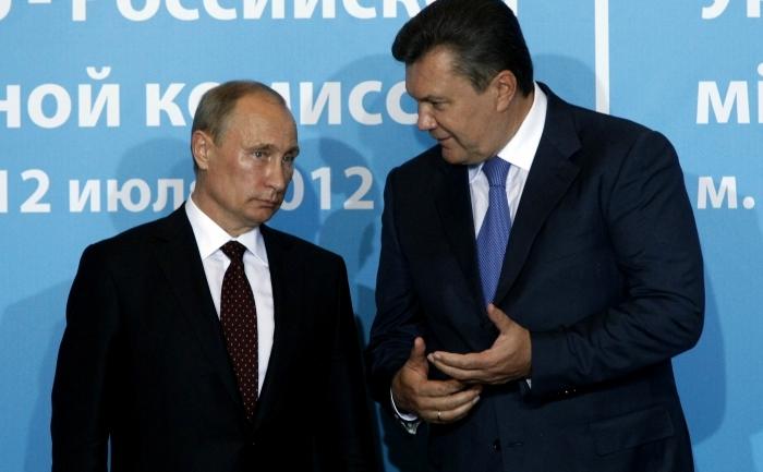 Preşedintele rus Vladimir Putin şi omologul său ucrainean, Viktor Ianukovici.