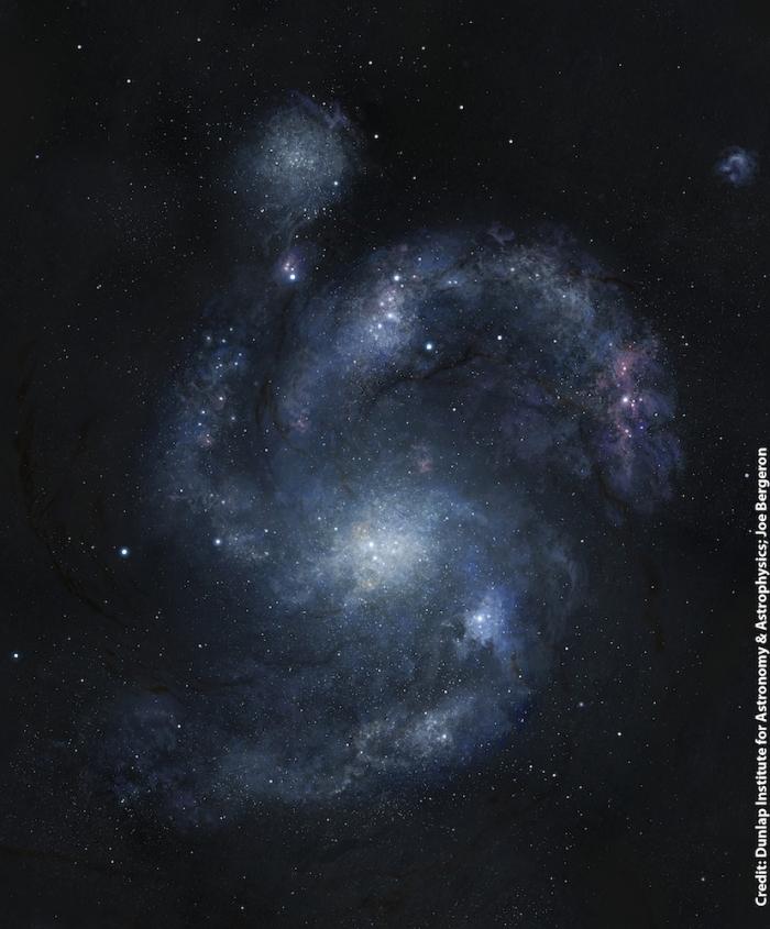 Imagine artistică a galaxiei BX442 şi a însoţitoarei sale