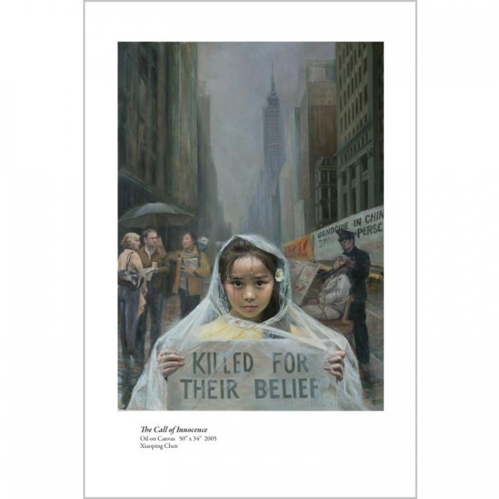 Pictură înfăţişând o fetiţă în Manhattan, ce spune oamenilor despre persecuţia Falun Gong