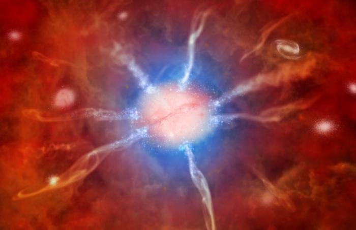 Imagine artistică a galaxiei din centrul nebuloasei Phoenix.