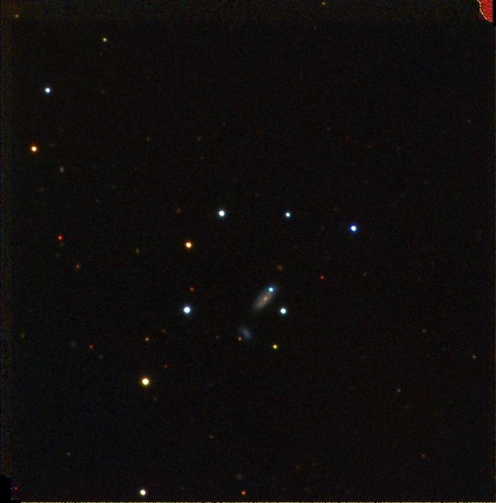 Supernova PTF 11kx poate fi văzută ca un punct albastru al Galaxiei. Imaginea a fost luată în momentul în care supernova manifesta luminozitate maximă
