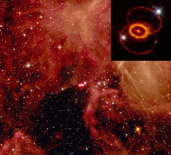 Neutrini detectaţi ca provenind din supernova 1987A. Existenţa lor sprijină teoria colapsului nucleelor gravitaţionale a supernovelor de tip II