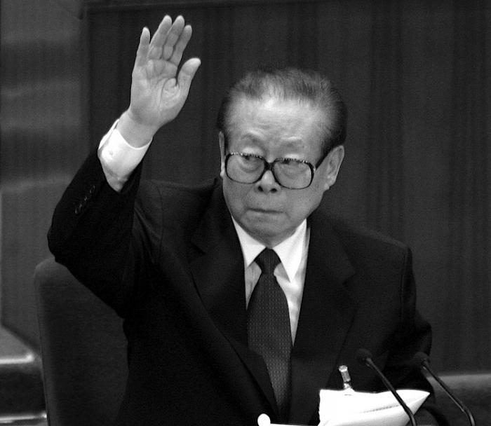 Dictatorul comunist chinez Jiang Zemin, în Marea Sală a Poporului, Beijing, 2007