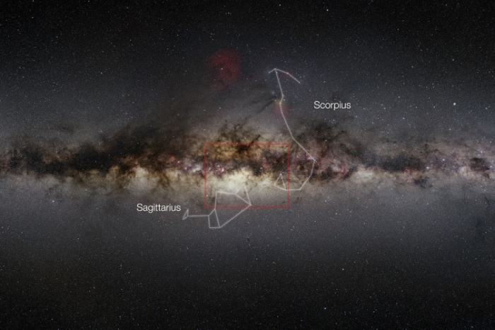 Vedere a Căii Lactee luată cu un telescop super angular în infraroşu. Centrul galaxiei este marcat cu un dreptunghi