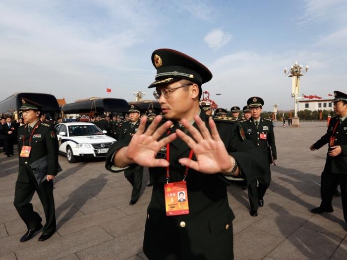 Miliţie chineză în Piaţa Tiananmen, Beijing