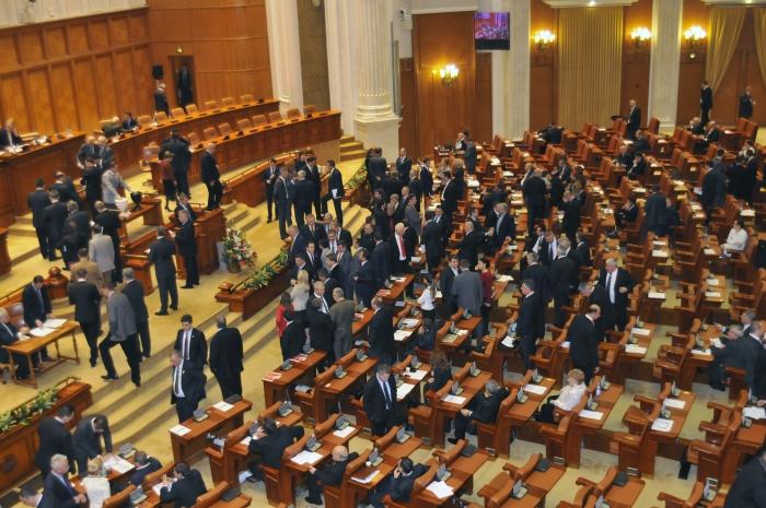 Parlamentul României, vot secret cu bile. În imagine un grup USL de parlamentari