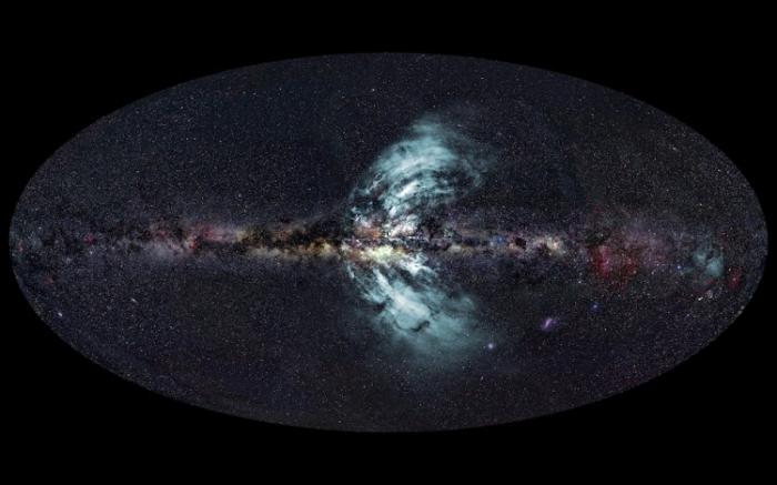"""Imagine înfăţişând """"gheizerele"""" care emit în Calea Lactee"""