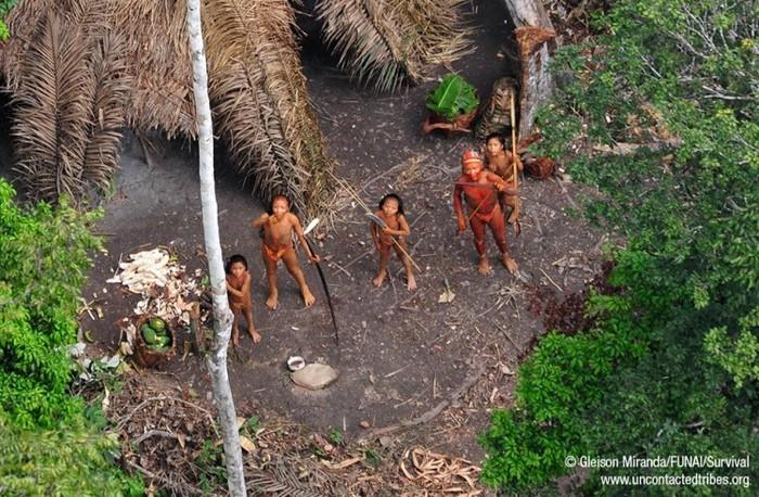 Membrii unui trib amazonian la graniţa dintre Brazilia şi Peru, 2011