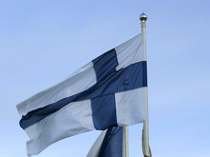 Steagul finlandez în Lahti, Finlanda.