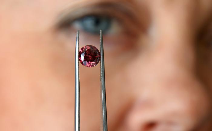 Josephine Johnson managerul Argyle Pink Diamonds prezintă cel mai mare diamant roşu extras vreodată din mina Argyle, 17 mai 2013, Sydney. Argyle Phoenix de 1,56 carate este unul din cele trei diamante roşii  care vor fi scoase la vânzare cu ocazia tradiţionalului Argyle Pink  Diamonds Tender.
