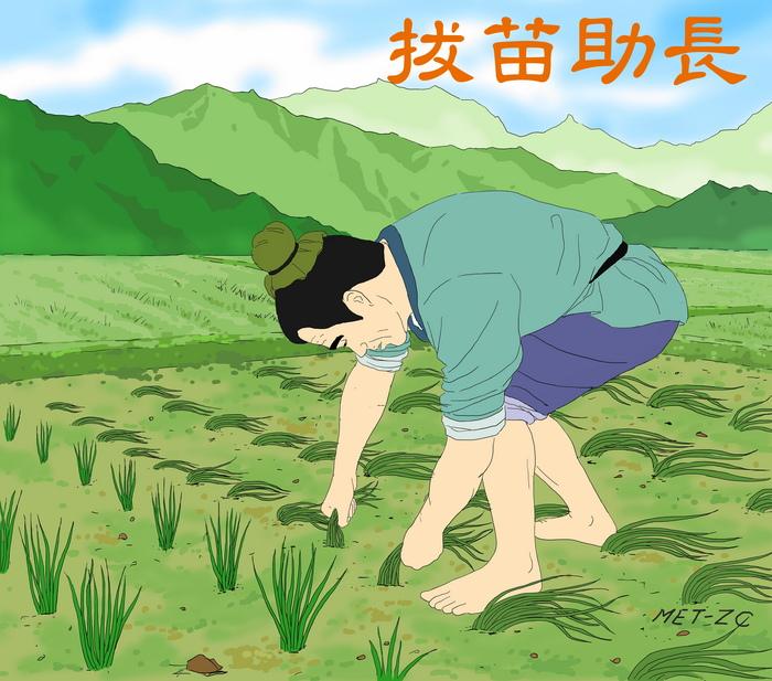 Fermierul nerăbdător trage de puieţi pentru a-i ajuta să crească