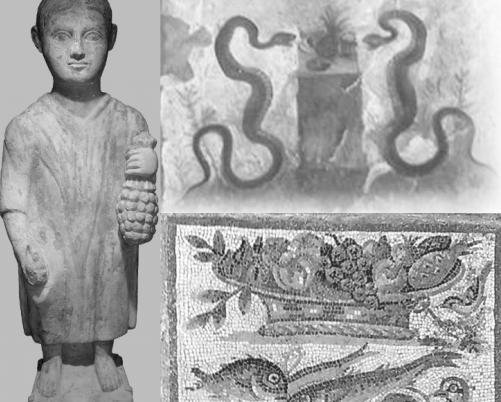"""Trei reprezentări ale ananasului din epoca romană. Statuia este din secolul al treilea AD şi se află acum în Musée d'Art et d'Histoire de la Geneva. În partea din dreapta sus, o frescă în """"Casa dell'Efebo"""" din Pompei, iar in dreapta jos, un mozaic de vârstă Augustus, aflat acum în palatul """"Massimo"""" de la Muzeul Naţional de la Roma"""