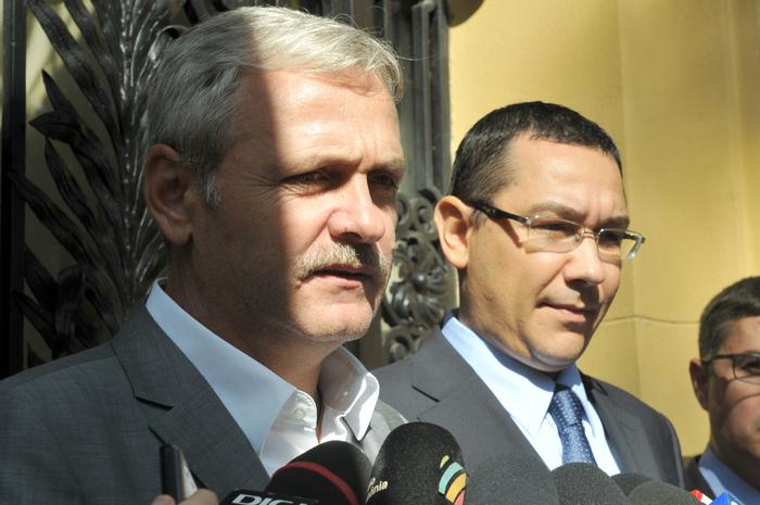 Declaraţii de presă la sediul PSD 1. În imagine, Liviu Dragnea şi Victor Ponta