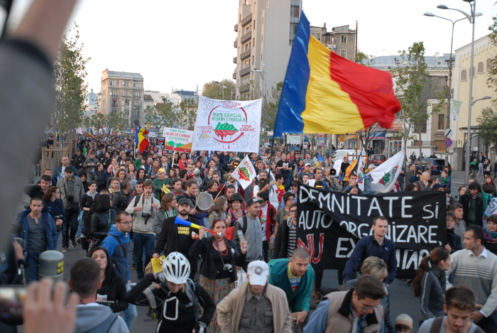 Proteste împotriva proiectului Roşia Montana în Bucureşti