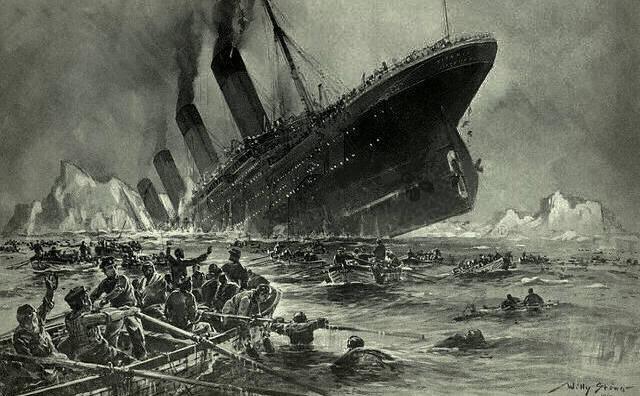 O gravură care descrie scufundarea Titanicului