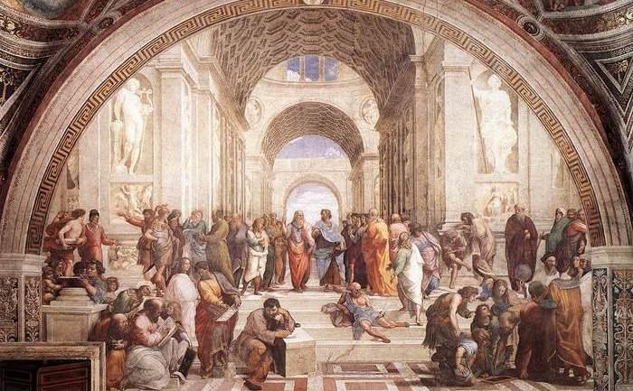 """Şcoala de la Atena"" Frescă, 1509. Stanza della Segnatura, Palazzi Pontifici Vatican"