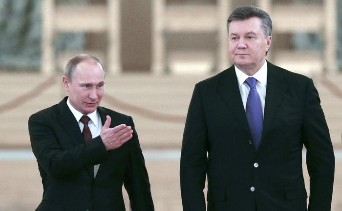 Preşedintele rus Vladimir Putin şi şeful statului ucrainean Viktor Ianukovici.