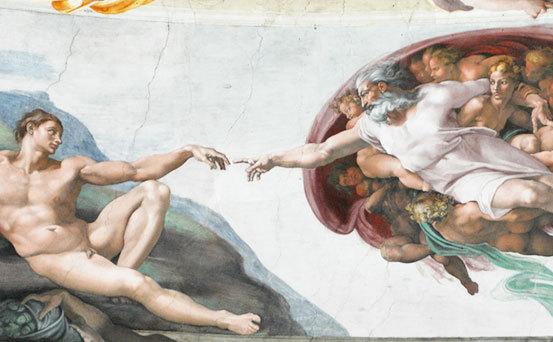 Imagine din Capela Sixtina pictată de Michelangelo Buonarotti