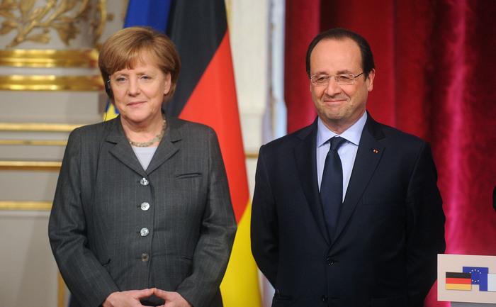 Cancelarul Germaniei, Angela Merkel şi preşedintele Franţei, Francois Hollande, 19 februarie 2014, Paris.