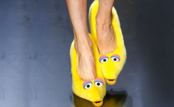 Celine, furry shoes.