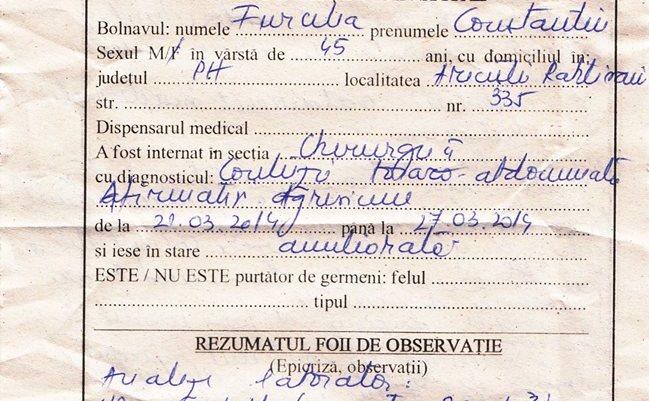 Biletul de ieşire din spital al lui Cristian Furcelea, pagina 1