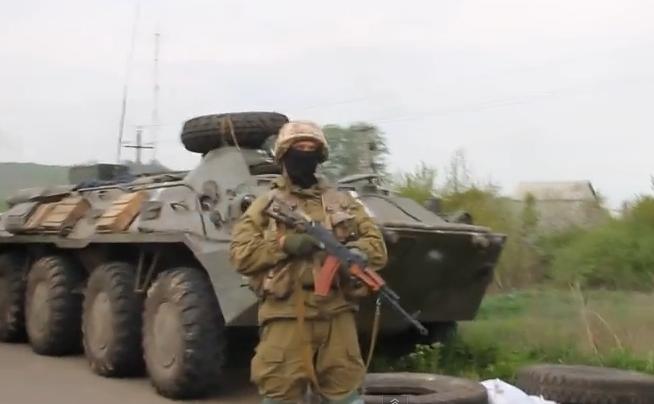 Forţele armate ucrainene din Sloviansk. Ucraina. 4 mai 2014.