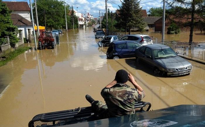 Inundaţii în Obrenovaci, la 40 km de Belgrad, 18 may 2014