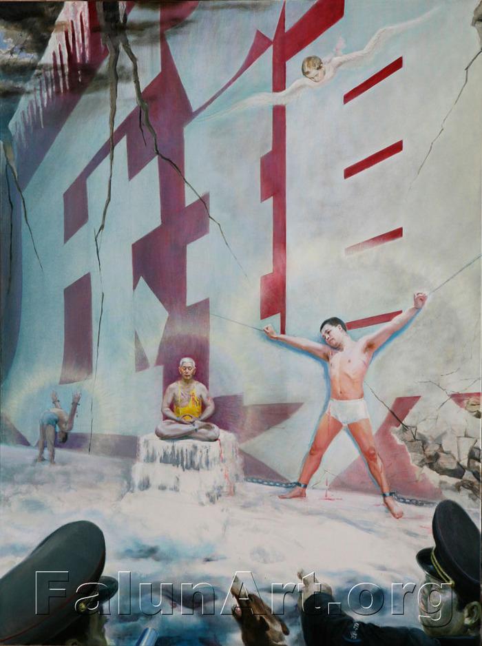 """Kunlun Zhang: """"Zidul Roşu"""", ulei pe pânză, 91/122 cm."""