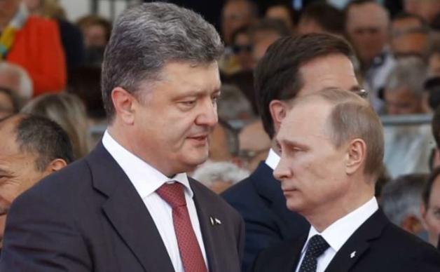 Preşedintele ucrainean Petro Poroşenko şi preşedintele rus Vladimir Putin.