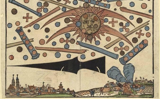 Ilustraţia unor ştiri tipărite în 14 aprilie 1561, în Nuremberg
