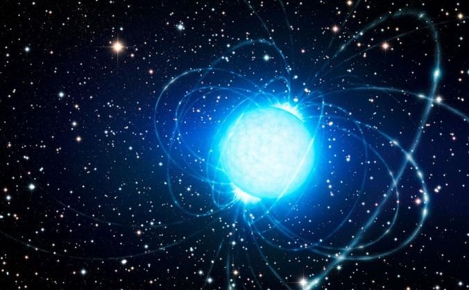 Cei mai puternici magneţi din univers sunt stelele magnetice. (Reprezentarea artistică a unei stele magnetice în clusterul Westerlund 1.)