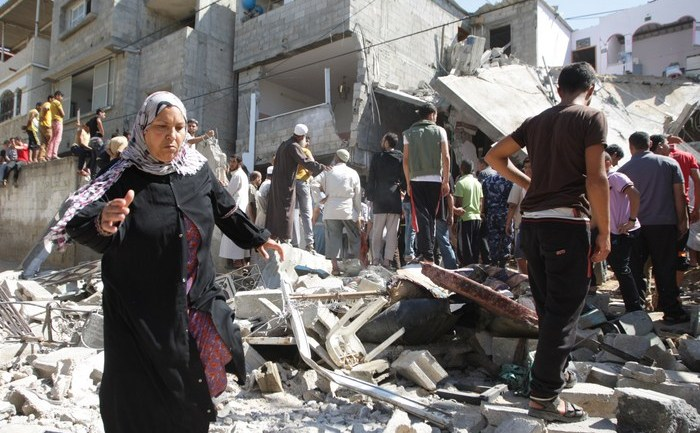 Casa unui lider Hamas dărâmată în timpul bomardamentelor israeliene în Gaza, 8 iulie 2014.