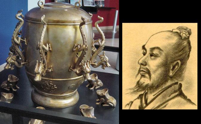 Replică a unui seismoscop chinez, din dinastia Han timpurie (25-220 dC, împreună cu inventatorul acestuia, Zhang Heng.