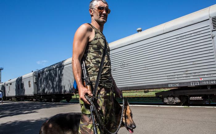 Torez, Ucraina, 21 iulie. Paramilitar pro-rus păzind trenul frigorific ce adăposteşte cadavrele celor ucişi la doborârea cursei MH15